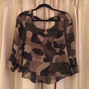 Camouflage Studded Top